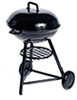 Dollhouse Miniature Round Charcoal Grill, Large