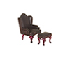 Dollhouse Miniature Chair with Ottoman, Brown