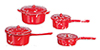 Dollhouse Miniature Red Spatterware Pots, 4 pc