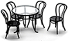 Dollhouse Miniature Patio Table with 4 Chairs, Black