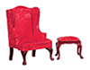 Dollhouse Miniature Wingback Chair with Stool, Red