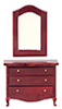 Dollhouse Miniature Low Dresser with Mirror, Mahogany
