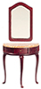 Dollhouse Miniature Demi-Table with Mirror, Mahogany