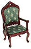 Dollhouse Miniature Victorian Fauteuil, Green Diamond, Mahogany