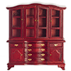 Dollhouse Miniature Hutch with Glass Doors, Mahogany