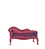 Dollhouse Miniature Chaise, Burgundy Satin, Mahogany