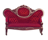 Dollhouse Miniature Victorian Sofa, Red, Mahogany