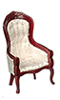 Dollhouse Miniature Victorian Gent's Chair, White, Mahogany