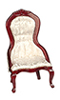 Dollhouse Miniature Victorian  Lady's Chair, White, Mahogany