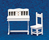 Dollhouse Miniature Desk & Chair Set, 2 pc, White