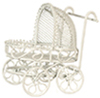 Dollhouse Miniature Baby Pram, White