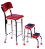 Dollhouse Miniature Kitchen Stool with Steps, Red