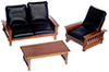 Dollhouse Miniature Sofa, Chair, Table, Black, Walnut