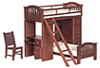 Dollhouse Miniature Bunkbed Set, Walnut