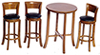 Dollhouse Miniature Tall Table with 3 Stools, Walnut