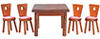 Dollhouse Miniature Square Table with 4 Chairs, Walnut