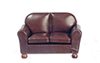 Dollhouse Miniature Loveseat, Brown Leather