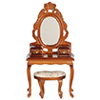 Dollhouse Miniature Vanity with Stool, Walnut