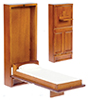 Dollhouse Miniature Single Murphy Bed, Walnut