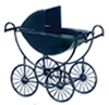 Dollhouse Miniature Metal Baby Carriage, Black