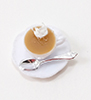 Dollhouse Miniature Cup Of Hot Cocoa W/Whip Cream On Saucer W/Spoon