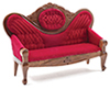 Dollhouse Miniature Victorian Sofa, Red