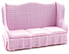 Dollhouse Miniature Sofa, Pink Fabric