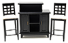 Dollhouse Miniature Black Bar with 2 Chairs