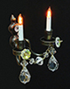 Dollhouse Miniature Double Candle Crystal Wall Sconce