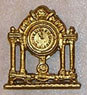 Dollhouse Miniature Clock, Mantle, Gold Color