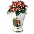 Dollhouse Miniature Reutter's Porcelain Fine Dollhouse Miniature Holiday Poinsettia In Vase