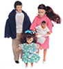 Dollhouse Miniature Modern Doll Family, Brunette