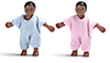 Dollhouse Miniature Black Twin Babies, Pink & Blue
