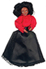 Dollhouse Miniature Victorian Woman with Outfit, Black