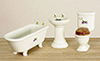Dollhouse Miniature Bathroom Set, 3Pc