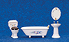 Dollhouse Miniature Bathroom Set, 4Pc