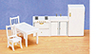 Dollhouse Miniature Kitchen Set/6/ White