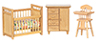 Dollhouse Miniature Nursery Set, 3Pc, Oak
