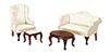 Dollhouse Miniature Queen Anne Living Room, 4Pc