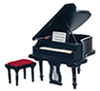 Dollhouse Miniature Baby Grand Piano with Stool, Black