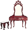 Dollhouse Miniature Dressing Table with Stool, Mahogany