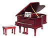 Dollhouse Miniature Musical Grand Piano, Mahogany