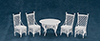 Dollhouse Miniature Gathering Table, 4 Chairs