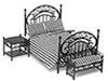 Dollhouse Miniature Bedroom Set, 3Pc, Black