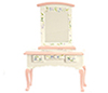Dollhouse Miniature Pink Vanity W/Mirror