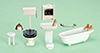 Dollhouse Miniature1/4 Inch Bathroom Set, 8Pc