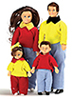 Dollhouse Miniature Casual Doll Family, 4Pc, Brown Hair