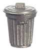 Dollhouse Miniature Metal Garbage Can with Lid