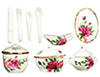 Dollhouse Miniature Red Rose Dinnerware Set, 12pc