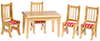 Dollhouse Miniature Kitchen Table and  Chairs, 5 Pc, Oak